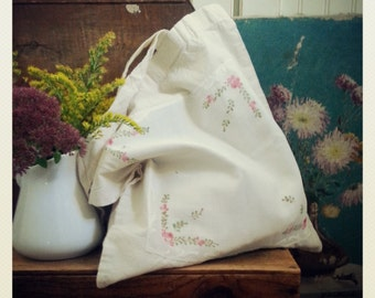 Floral Cotton Tote Bag, Market Shopper Made From a Vintage Hankie, Cottage Chic Pink and Blue Ruesable Bag
