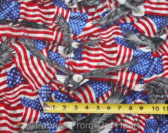Patriots Waving American Flags Gray Silver Eagles BY YARDS Robert Kaufman Fabric