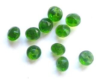 Set Of Ten Diminutive Bright Green Faceted Glass Buttons