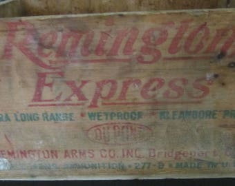 Vintage REMINGTON Express Ammo Box - Wood Box - 16ga -Xtra Long Range - Bridgeport,Ct - MAN CAVE - Hunt Lodge - 1940-1950s