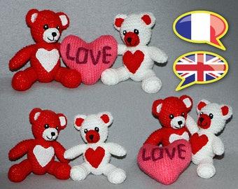 knitting pattern toy, bears in love, Valentine's Day, amigurumi