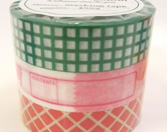 NEW Washi Tape, Set of 3 rolls -Vitamin Supplement, Mark'sphere GREEN - by MARK'S