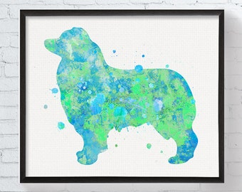 Personalized australian shepherd blueprint australian australian shepherd art print watercolor australian shepherd australian shepherd wall art colorful malvernweather Images