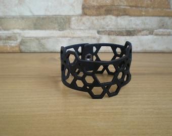 Black laser cut leather bracelet for women HONEYCOMB - Black laser cut leather cuff bracelet - Black leather Wrist band