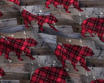 Plaid Rustic Bears Fabric - Plaid Bear On Wood By Karismithdesigns - Rustic Woodland Nursery Cotton Fabric By The Yard With Spoonflower