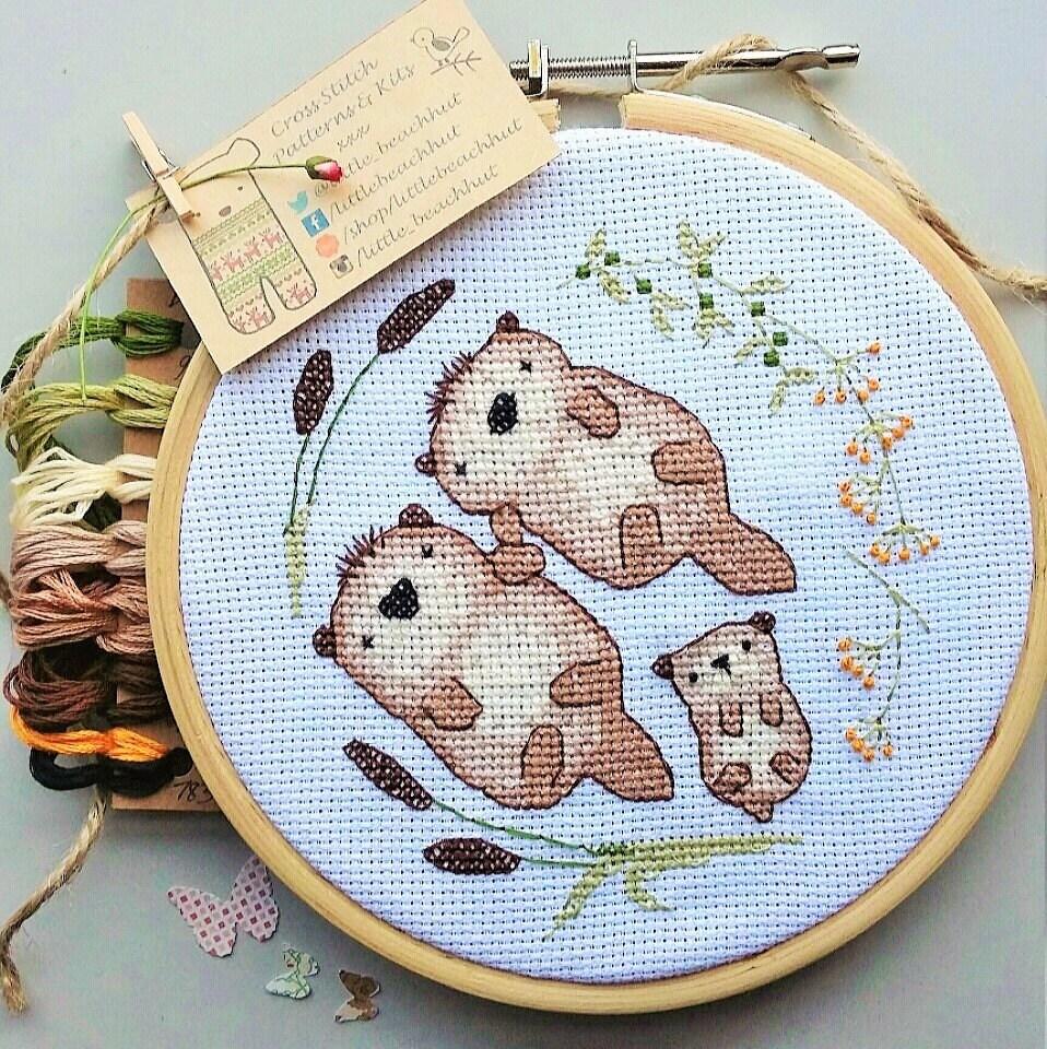 Cute Otter Cross Stitch Pattern Otter Embroidery Modern