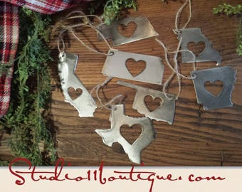 STATE ornament with Heart!