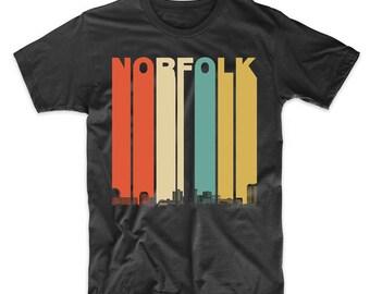 Vintage Retro 1970's Style Norfolk Virginia Skyline T-Shirt