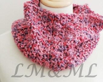 Snood crochet wool rose nouance