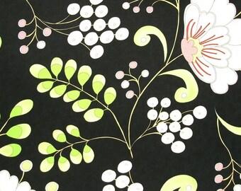 SALE  SALE  SALE    Dena Designs Snow Flower Home Decor Snow Berry in black  1 yard