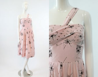 50s Dress One Shoulder XS / 1950s Rhinestone Atomic Print Dress /  Pretty Parfait Dress
