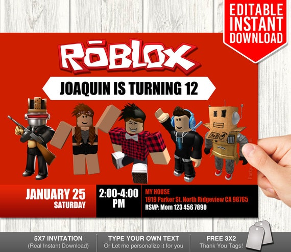 free printable roblox invitations