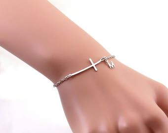 Personalized sterling silver sideways cross bracelet. Sterling silver sideways cross., , monogram cross., gift for her