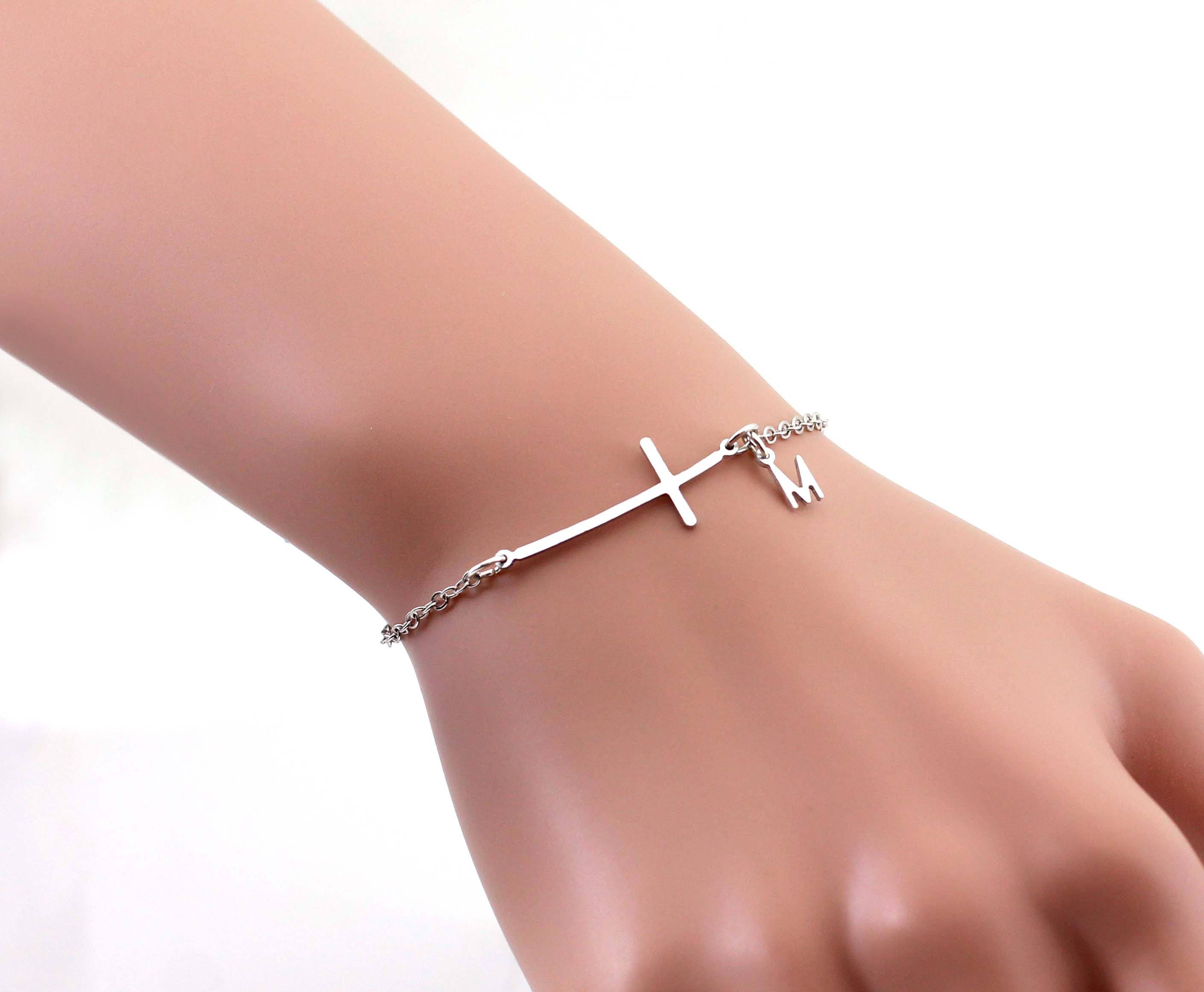 cross necklace products freshchristian horizontal bracelet goldhorizontal