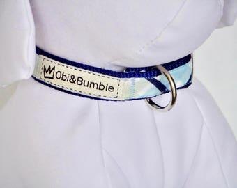 Blue and green check tartan dog collar