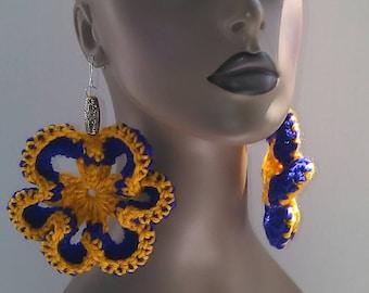 Purple and Yellow Flower Crocheted Earrings, Women's Earrings, Large Earrings, Big Earrings, Flower Earrings, Flower Earrings
