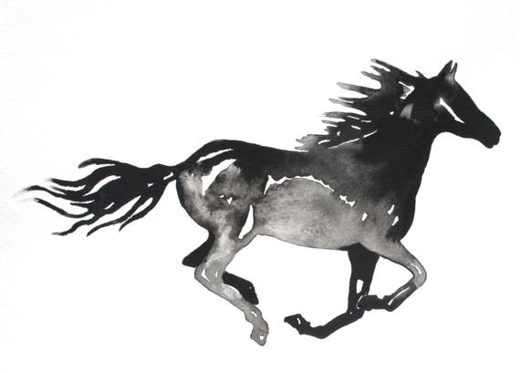 Horse silhouette wall art black and white horse print of