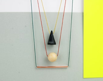 Minimalistic necklace with copper tube, triangle and wooden bead, elementary shapes necklace, modern necklace, minimal necklace