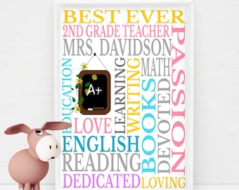 Personalized 2nd Grade Teacher Gift Subway Wall Art DIY Print Customized with Teacher's Name & You Print at home or Have Printed