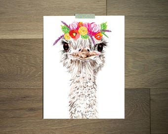 Ostrich watercolor animal art print - 8 x 10 - black and white - ostrich- flower crown