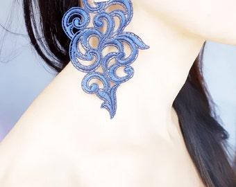 dark blue lace earrings - large fabric earrings //statement earrings //gothic earrings // art deco -  gift for her