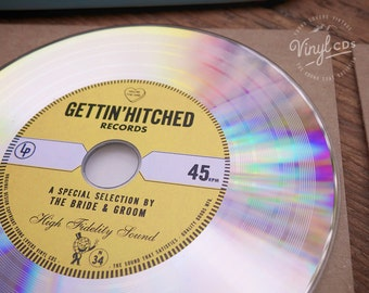 Vintage Invitation Idea & Wedding favors - Retro Vinyl CDs. Platinum // Yellow label