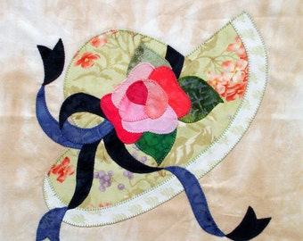 Sun Hat Appliqued Quilt Block