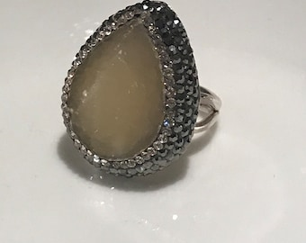 Turkish Handmade, Sterling Silver, Swarovski Crystal, Smokey Quartz Gemstone Ring