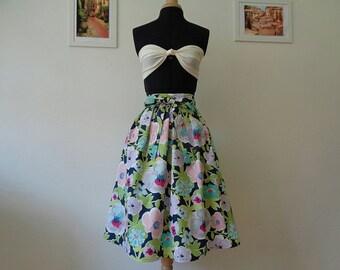 BELLE Night Flowers cotton skirt,midi length,pleated skirt