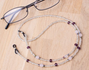 Eyeglasses chain - Rose quartz and purple bead gemstone glasses cord | Eyeglass necklace | Silver spectacle chain | Eyewear accessories