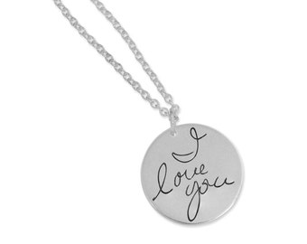 """Custom personalized silver necklace - Handwriting Silver Memorial Necklace - Silver handwriting pendant - Writing on Silver, 5/8"""" round disk"""