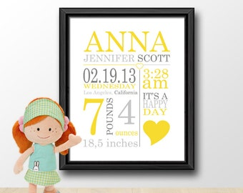 baby birth stats, nursery birth print, birth art print, birth announcement wall art, baby birth date print, new baby print, birth subway art