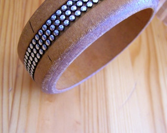 """Vintage 70's """"WOOD BANGLE""""  in a Silver Bead Ribbon Inlay Unisex bracelet"""