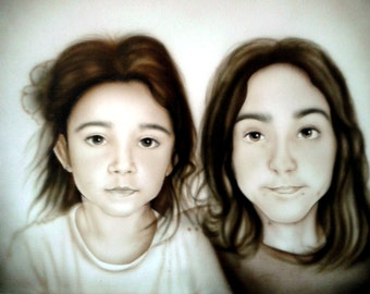 Portraits of two sepia people on command