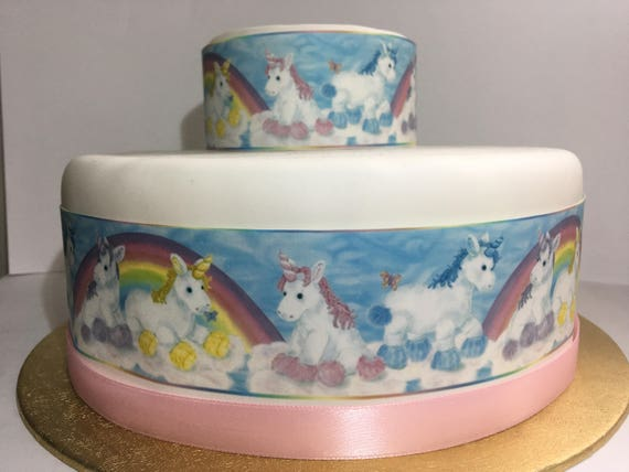 Unicorn Rainbow Edible Decor Icing Sheet Cake Border Ribbon