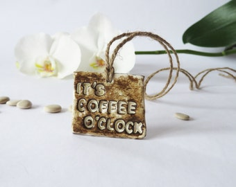 Coffee Accessories Coffee Lovers Brown Ceramics Pendant Rustic Jewelry Woodland Necklace Quote Jewelry Car Accessories Engraved Pendant
