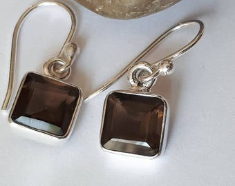 Smoky quartz earrings set in 92.5 sterling silver, faceted gemstone
