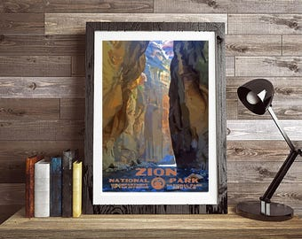 Zion National Park Narrows WPA Photo Poster