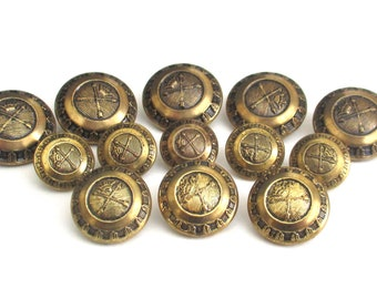 Vintage Gold Tone Metal Arrow & Crown Domed Button Set - 13 Replacement Buttons for Jackets, Suits or Blazer Coats - King Queen Button Lot