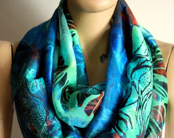 mothers day green blue leaf spring infinity scarf - Loop scarf - Circle scarf - Women Scarf - gift ideas - leaf print scarf - fashion
