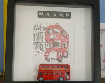 London theme personalised box frame gift