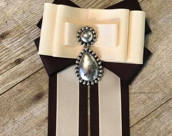 Brown and Beige  Bow Brooch