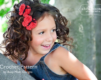 CROCHET PATTERN - Quick and Easy Butterfly Applique - Great for hair clips, hats, headbands, and more - PDF 203 - Sell what you Make