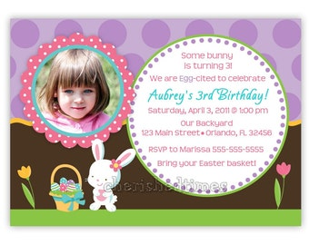 Dotty Easter Bunny Birthday or Greeting Card Invitation (U Print)