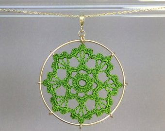 Scallops doily necklace, parrot green hand-dyed silk thread, 14K gold-filled