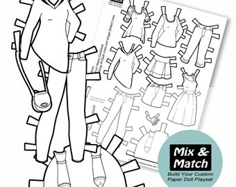 Paper Doll Fashions  Mix U0026 Match Digital Paper Doll Coloring Page   Printable Paper Doll