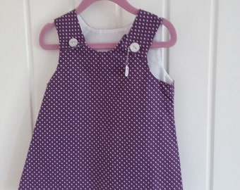 Purple Spot Girls Pinafore Dress Age 6 months