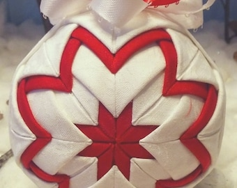 Handmade Christmas Quilted Ornament White Holly Leaves, Red