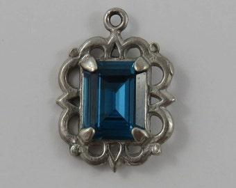 Blue March Birthstone Sterling Silver Vintage Charm For Bracelet