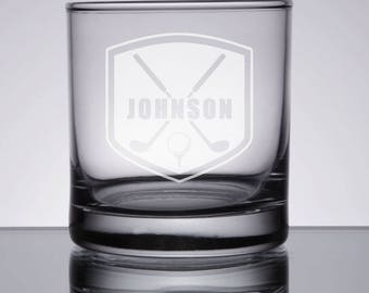 Golf Whiskey Glass, Etched Rocks Glass, Golfer Gift, Father's Day, Christmas, Birthday, Groomsman Golf Gift, Golf Lover, Etched Bourbon